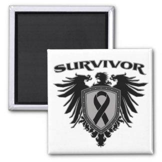 Melanoma Cancer Survivor Crest 2 Inch Square Magnet