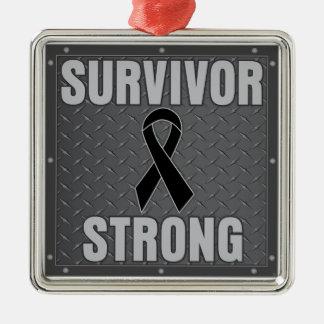 Melanoma Cancer Survivor Strong Metal Ornament