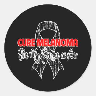 Melanoma de la curación para mi cuñado pegatinas redondas