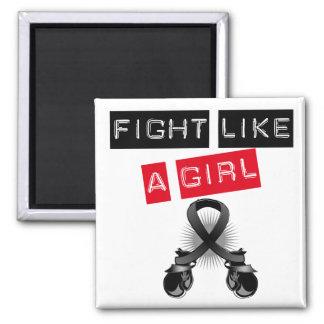 Melanoma Fight Like A Girl 2 Inch Square Magnet