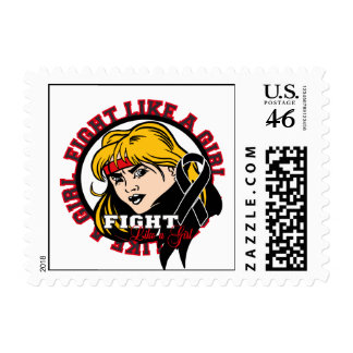 Melanoma Fight Like A Girl Attitude Postage Stamps