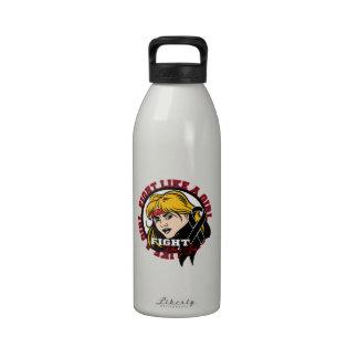 Melanoma Fight Like A Girl Attitude Reusable Water Bottles