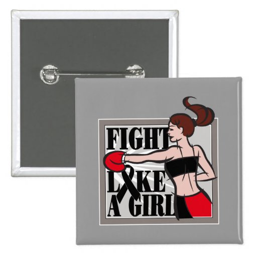 Melanoma Fight Like A Girl Boxer Button