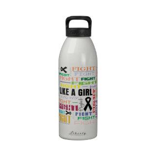 Melanoma Fight Like A Girl Collage Water Bottles