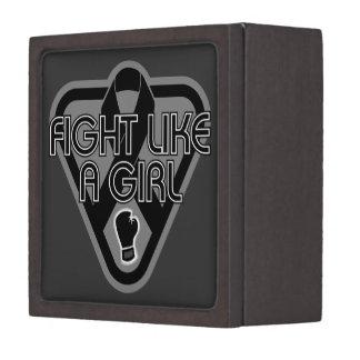 Melanoma Fight Like A Girl Glove Premium Keepsake Box