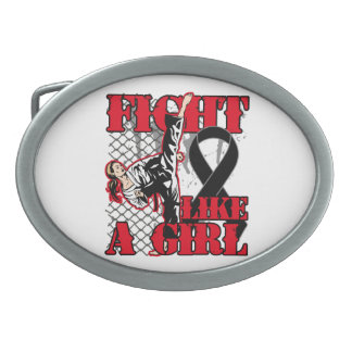 Melanoma Fight Like A Girl Kick. Oval Belt Buckles
