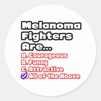 Melanoma Fighter Quiz Round Stickers