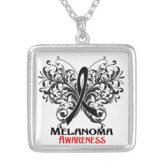 Melanoma Flourish Butterfly Ribbon Square Pendant Necklace