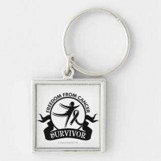 Melanoma - Freedom From Cancer Survivor.png Silver-Colored Square Keychain