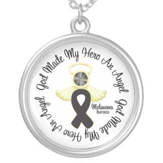 Melanoma God Made My Hero An Angel Round Pendant Necklace