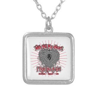 Melanoma Heart I Fight Like A Girl Personalized Necklace