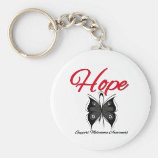 Melanoma Hope Butterfly Ribbon Basic Round Button Keychain