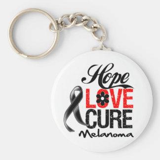 Melanoma Hope Love Cure Basic Round Button Keychain