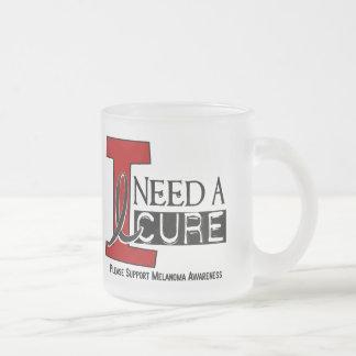 Melanoma I NEED A CURE 1 Frosted Glass Coffee Mug