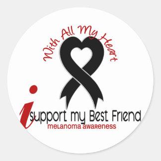 Melanoma I Support My Best Friend Classic Round Sticker