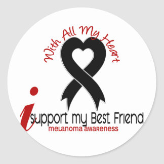 Melanoma I Support My Best Friend Classic Round Sticker