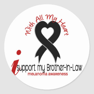Melanoma I Support My Brother-In-Law Classic Round Sticker