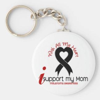 Melanoma I Support My Mom Basic Round Button Keychain