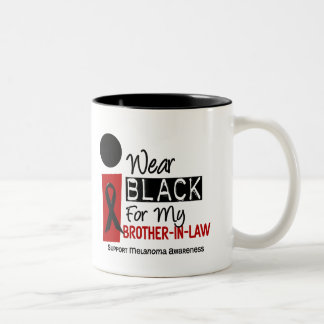 Melanoma I Wear Black For My Brother-In-Law 9 Two-Tone Coffee Mug