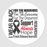 Melanoma I Wear Black Ribbon TRIBUTE Round Stickers