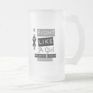 Melanoma Label Logo I Fight Like A Girl Mugs