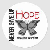 Melanoma Never Give Up Hope Butterfly 4.1 Classic Round Sticker
