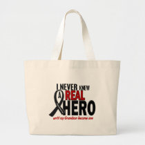 Melanoma NEVER KNEW A HERO 2 Grandson Large Tote Bag