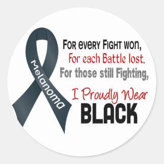 Melanoma para cada ..... llevo orgulloso el negro pegatina redonda