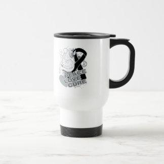 Melanoma Peace Love Cure Mugs