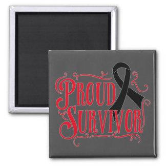 Melanoma Proud Survivor 2 Inch Square Magnet