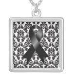 Melanoma Ribbon Damask Deco Necklace