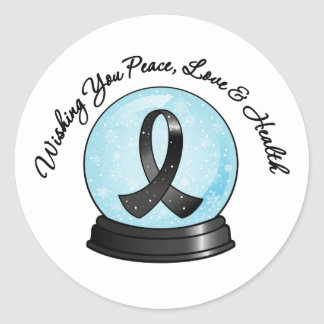 Melanoma Ribbon Merry Christmas Snowglobe Classic Round Sticker