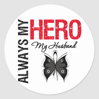 Melanoma siempre mi héroe mi marido pegatina redonda
