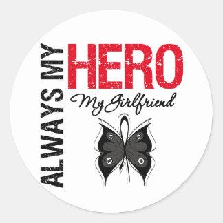 Melanoma siempre mi héroe mi novia pegatina redonda
