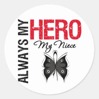 Melanoma siempre mi héroe mi sobrina pegatina redonda