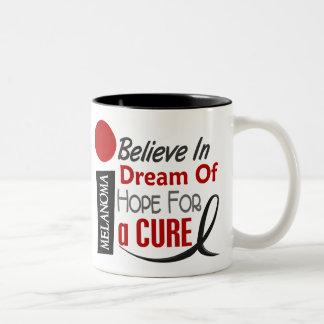 Melanoma Skin Cancer BELIEVE DREAM HOPE Two-Tone Coffee Mug