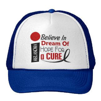 Melanoma Skin Cancer BELIEVE DREAM HOPE Trucker Hat