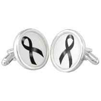 Melanoma | Skin Cancer | Black Ribbon Cufflinks
