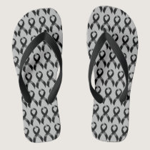 Melanoma | Skin Cancer - Black Ribbon Flip Flops