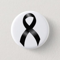 Melanoma | Skin Cancer - Black Ribbon Pinback Button