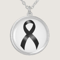 Melanoma | Skin Cancer - Black Ribbon Silver Plated Necklace