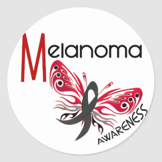 Melanoma / Skin Cancer BUTTERFLY 3.1 Classic Round Sticker