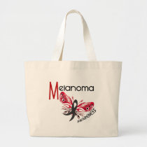 Melanoma / Skin Cancer BUTTERFLY 3.1 Large Tote Bag