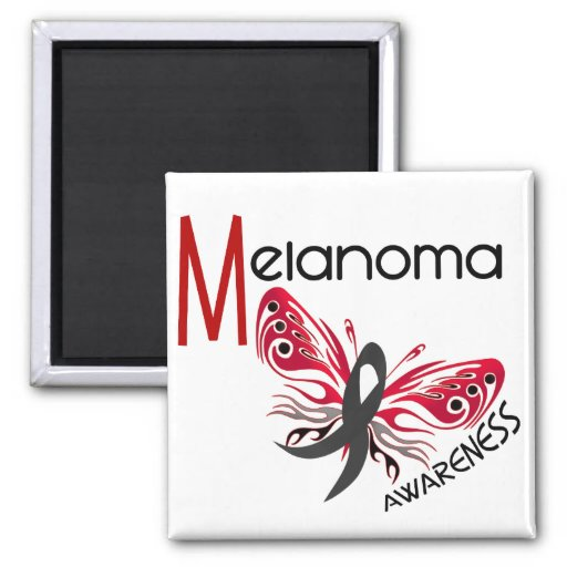 Melanoma / Skin Cancer BUTTERFLY 3.1 2 Inch Square Magnet