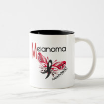 Melanoma / Skin Cancer BUTTERFLY 3.1 Two-Tone Coffee Mug