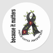 Melanoma Skin Cancer Flower Ribbon 3 Classic Round Sticker