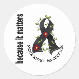 Melanoma Skin Cancer Flower Ribbon 3 Classic Round Sticker