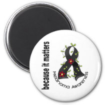 Melanoma Skin Cancer Flower Ribbon 3 Magnet