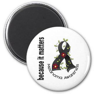 Melanoma Skin Cancer Flower Ribbon 3 Fridge Magnet