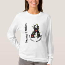 Melanoma Skin Cancer Flower Ribbon 3 T-Shirt